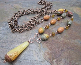 Fire Agate and Jasper Antique Copper Long Necklace