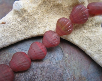 Matte Coral Red Ripples Shell Beads