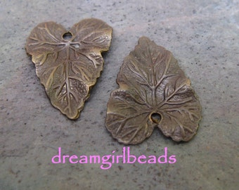 6pc Vintage Patina Leaf Charms