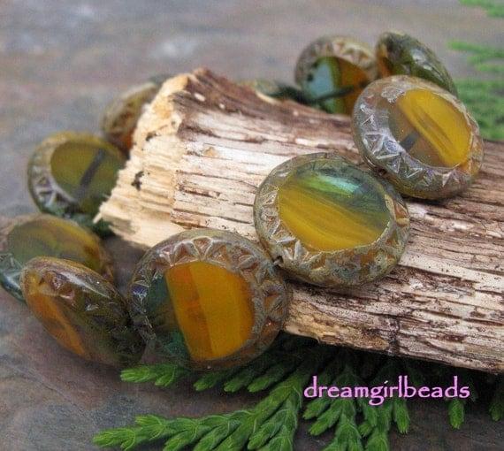 Chunky Coin Mirage Czech Glass Beads