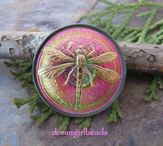 Electric Green and Pink Czech Glass Button with Gold Dragonfly