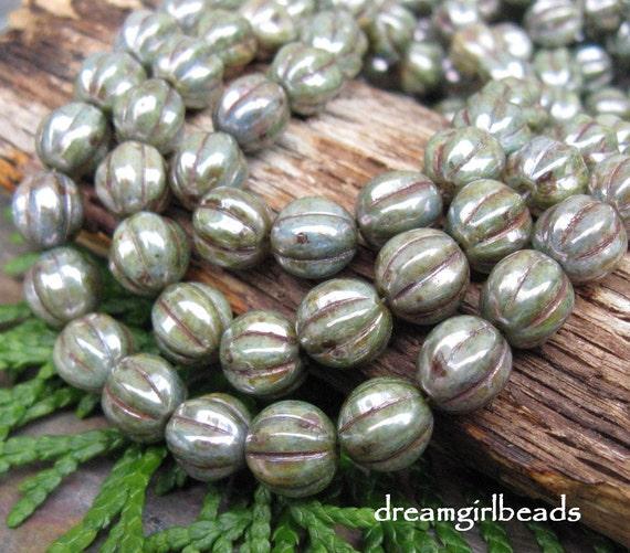 Misty Green Luster 8mm Czech Glass Beads