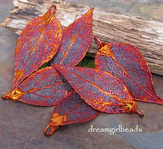 One Iridescent Copper Evergreen Laurel Leaf Pendant Ornament
