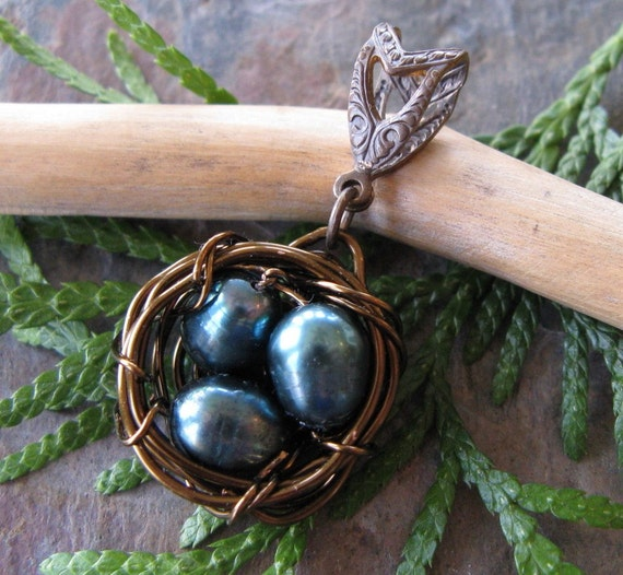 Precious Handwoven Bird Nest with Pearl Eggs and Bail