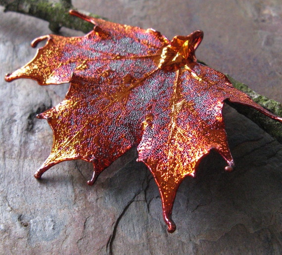 One Iridescent Copper Dipped Sugar Maple Leaf Pendant APX 60x70mm