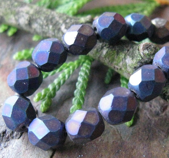 Matte Iris Blue Faceted Firepolished 6mm Czech Glass Beads