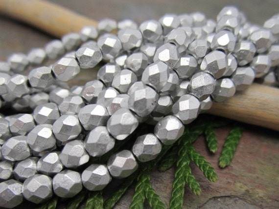 Matte Silver Faceted Firepolished 4mm Beads