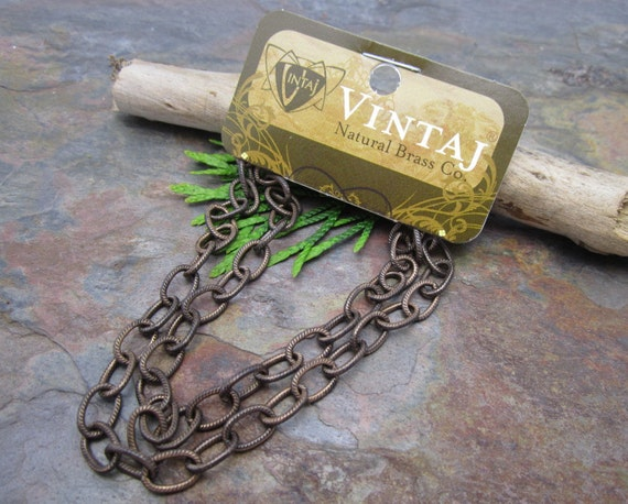 Vintaj Natural Brass Etched Oval Chain