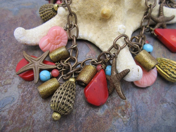Beach Party Necklace with Ocean Coral and Starfish