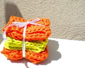 dishwash scrubbies eco friendly in green and orange - set of 3