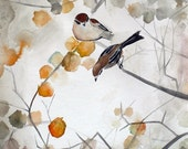 Autumn Bird Art - Asian Art - Animal Art - Fall - 8x8 Giclee Print