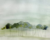 Quiet - Abstract Landscape Painting - Original Watercolor - 18x24 - Landscape with Green Trees