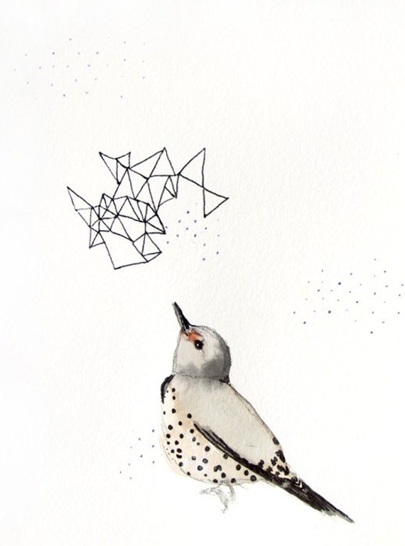 Northern Flicker - Limited Edition - Print 2/50 - 5x7 Giclee Print - Bird Watercolor Print