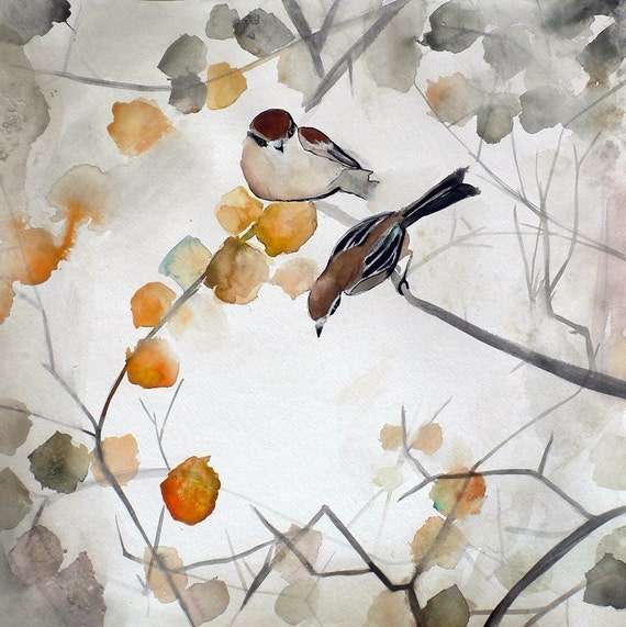 60% Off SALE - Autumn Bird Art - Asian Art - Animal Art - Fall - 8x8 Giclee Print
