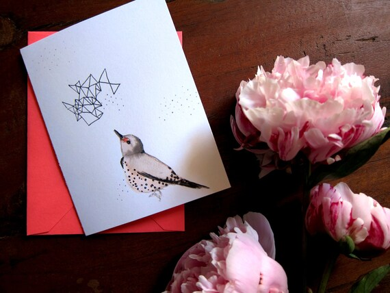 50% Off SALE - Bird Notecards - Gift for Her - Stationery Set of 8 Folded Cards - Northern Flicker