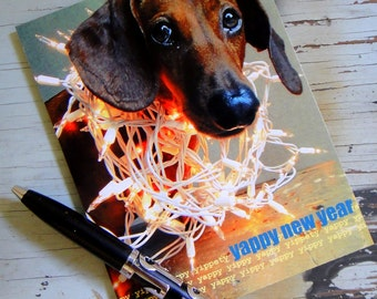 Pack of 5 Happy New Year Dachshund Postcards