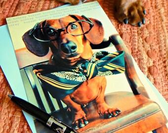 Dachshund Wiener Dog Card Graduation Congratulations Art Print Single - hooray huzzah yip yip hooray