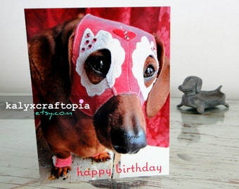 BIRTHDAY Pink Luchadora Dachshund Wrestler Birthday Card