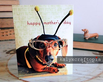 Mothers Day Busy Bee Dachshund Card