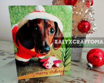Dachshund Christmas Card Set - Santa Simply Stated