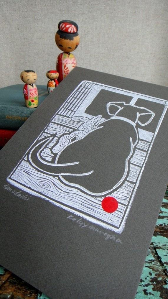Dachshund and Bunny Tomodachi Hand Pulled Linocut  Block Print