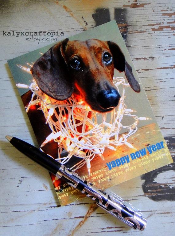 Happy New Years Wiener Dog  Dachshund Postcard