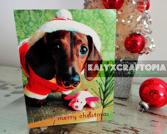 Little Santa Dachshund Christmas Card Simply Stated