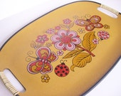 Retro Orange Red Yellow Floral Tray from the 60's
