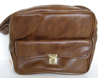 Vintage Brown Faux Leather Camera Tote Bag - Still with Original Tag