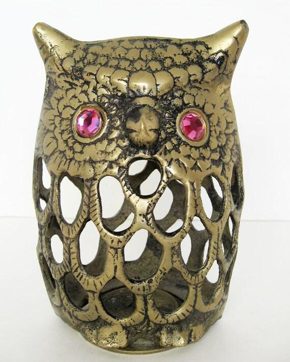 Vintage Brass Owl Candle Holder