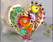 """MICHOU Anderson Lampwork Beads -  Large glass focal bead in yellow, purple, red and white """"ART Heart"""""""
