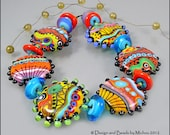 "Michou Anderson Lampwork Beads - Bright and Bold glass beads set  ""Walk On The Wild Side"""