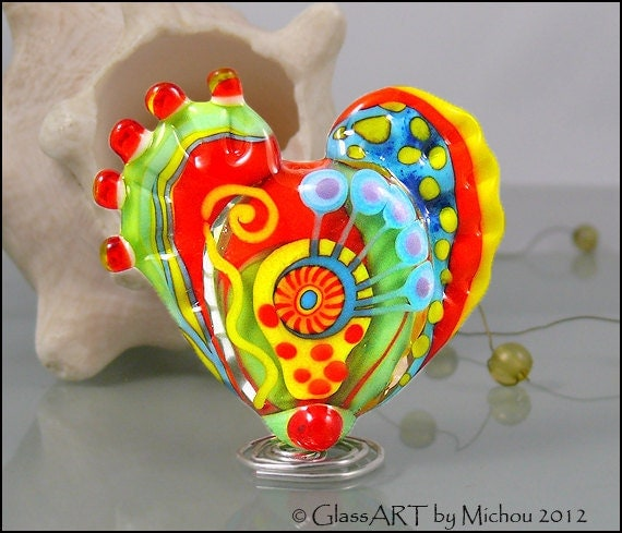 "MICHOU A. Lampwork Beads -  Large glass heart focal bead, yellow and red,  with handpulled murrinis and little drawings  ""Heart of Soul"""
