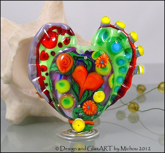 "MICHOU Anderson Lampwork Beads -  Large glass focal bead in purple, red and green ""Blooming Heart"""
