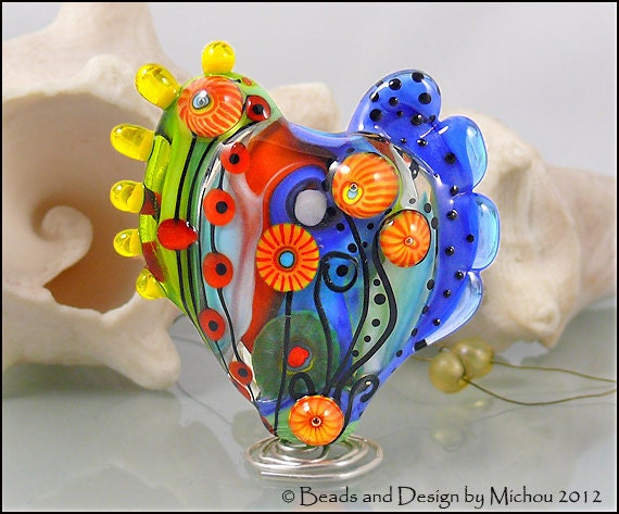 "MICHOU Anderson Lampwork Beads -  Large glass heart bead in the shades of blue, green red, and yellow ""Garden of Joy"""""