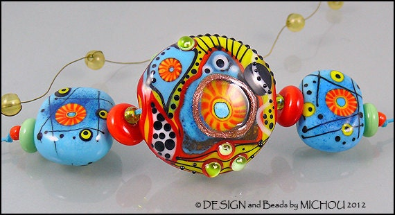 "Lampwork Glass bead set ""Other Planet"" by Michou Pascale Anderson"
