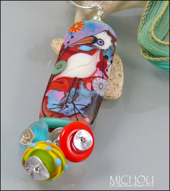 Funky Pelican Bird Necklace - Art Glass Bead by Michou