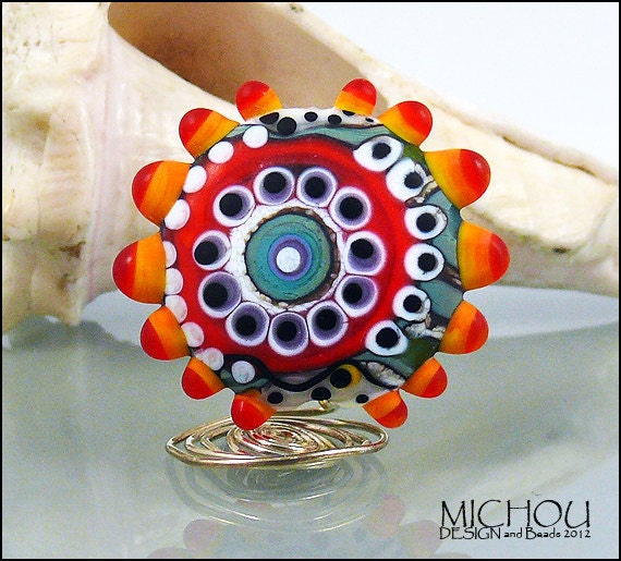 OCEAN creatures Nr. 2, Lampwork Glass bead in the shades of blue, grey and green, red, purple, orange, white and black by Michou