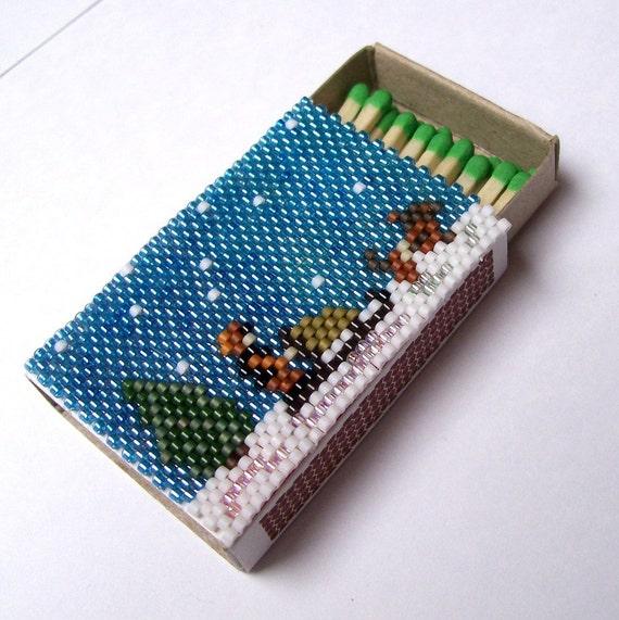 Minature Beaded Matchbox Alaska Sled Dog