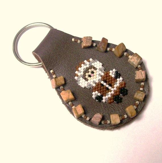 Leather Keyfob with beaded Eskimo Keyring