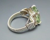Green Amethyst Stone Sterling Silver Wire Wrapped Ring Size 6