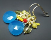 Blue Chalcedony w Yellow Branch Coral And Sterling Silver Earrings