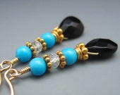 Blue Turquoise Aquamarine & Black Onyx Earrings Gold - RESERVED