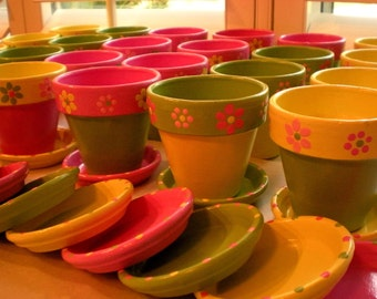 Painted Flower Pots - Medium Sized - Set of 10 - Herb Pots - Succulent Planters - 3.5 inch - Event Favors