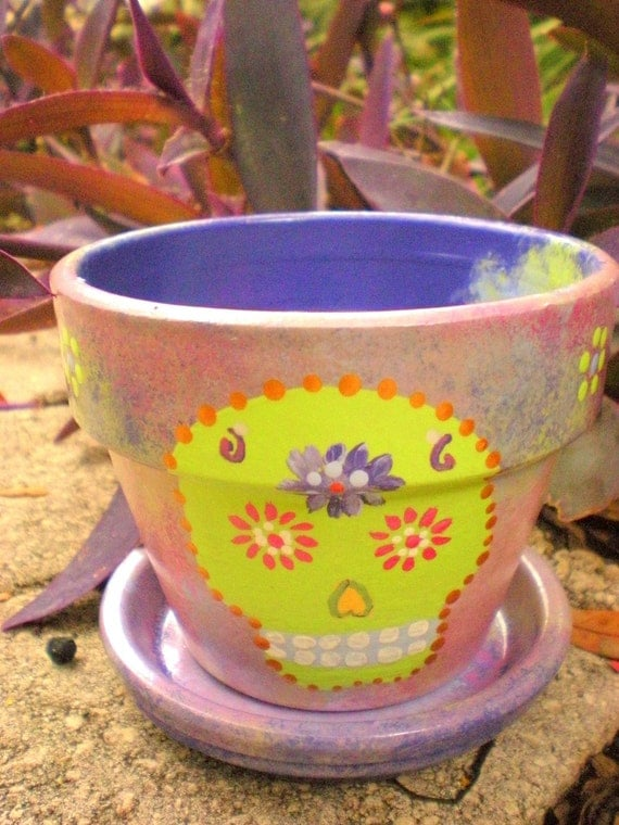 Green and Purple Hand Painted Flower Pot with Skull