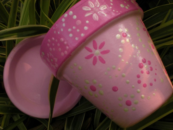 Pretty in Pink Hand Painted Flower Pot