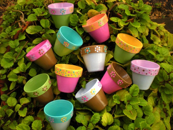 Baby Shower Favors - Hand Painted Flower Pots - Theme and Color Matching
