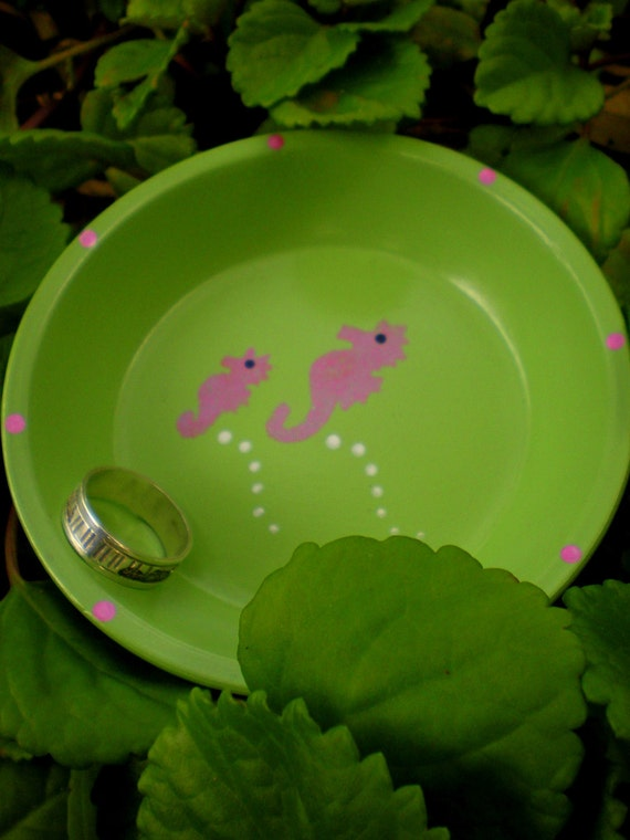 Seahorse - Pink and Green - Trinket Holders and other Beach-Themed items