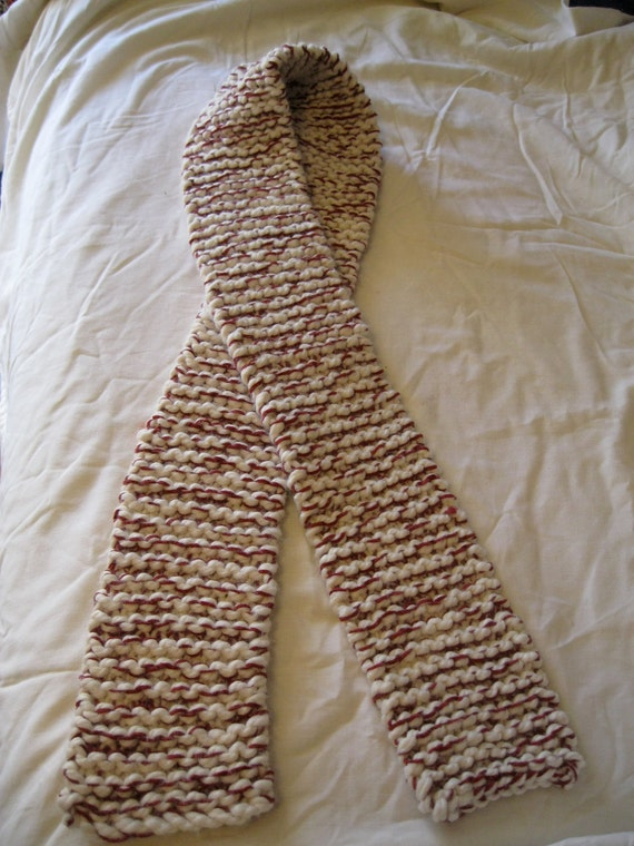 Warm Off-White and Maroon Knitted Scarf