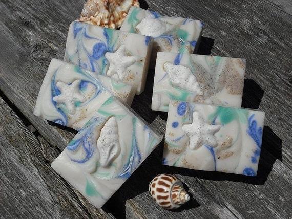 BEACH SOAP / Sea Shell Soap / Starfish Embed Soap / Cold Process Soap